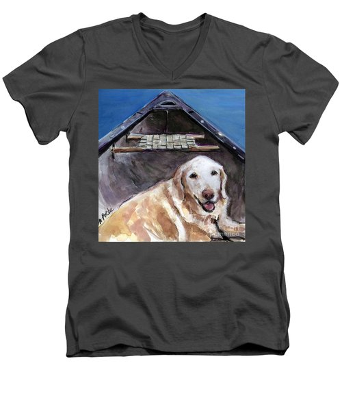 Men's V-Neck T-Shirt featuring the painting Me You Canoe by Molly Poole