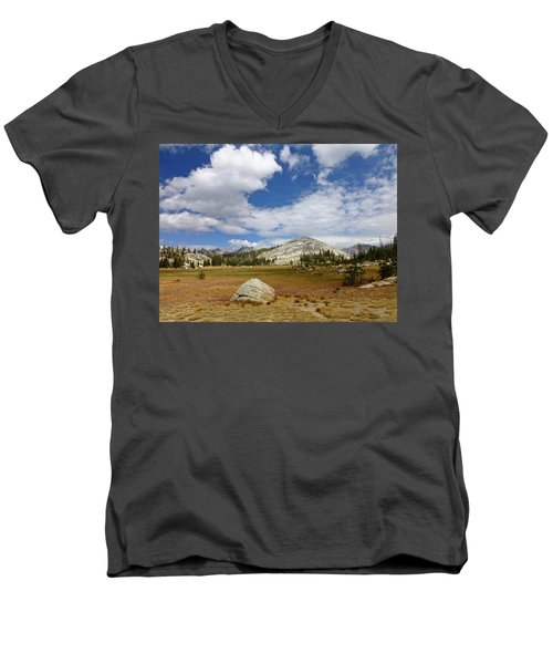 John Muir Trail High Sierra Camp Meadow Men's V-Neck T-Shirt by Amelia Racca