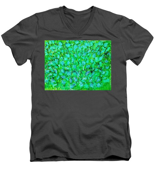 Meadow Flowers Men's V-Neck T-Shirt by Linde Townsend