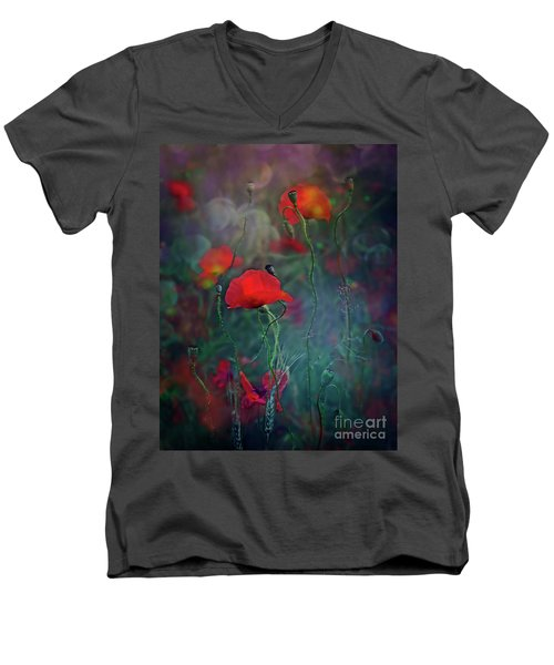 Meadow In Another Dimension Men's V-Neck T-Shirt by Agnieszka Mlicka