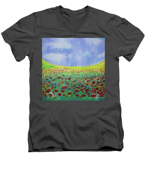 Meadow Of Poppies  Men's V-Neck T-Shirt