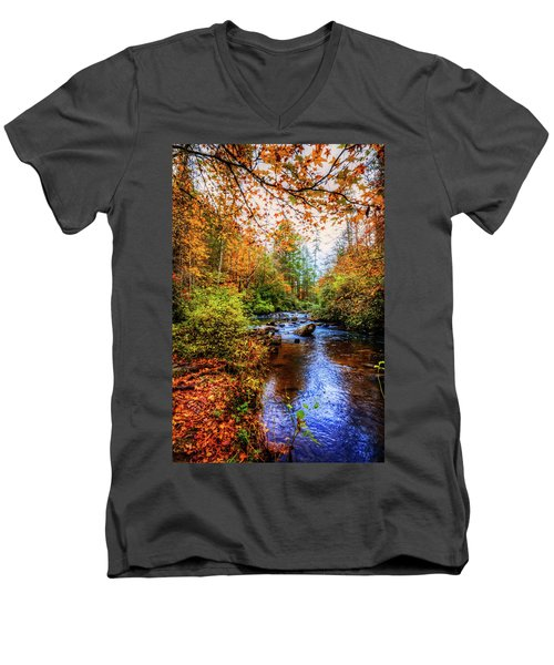 Men's V-Neck T-Shirt featuring the photograph Meandering In The Mountains by Debra and Dave Vanderlaan