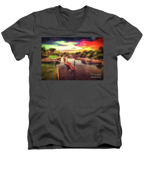 Meanwhile Back On The River Men's V-Neck T-Shirt