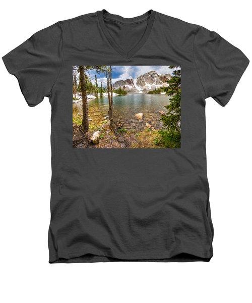 Medicine Bow Snowy Mountain Range Lake View Men's V-Neck T-Shirt