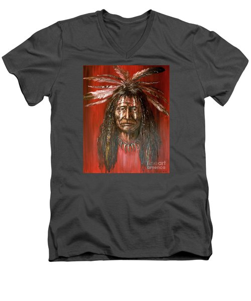 Men's V-Neck T-Shirt featuring the painting Medicine Man by Arturas Slapsys