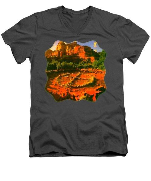 Medicine Wheel Men's V-Neck T-Shirt by Raven SiJohn
