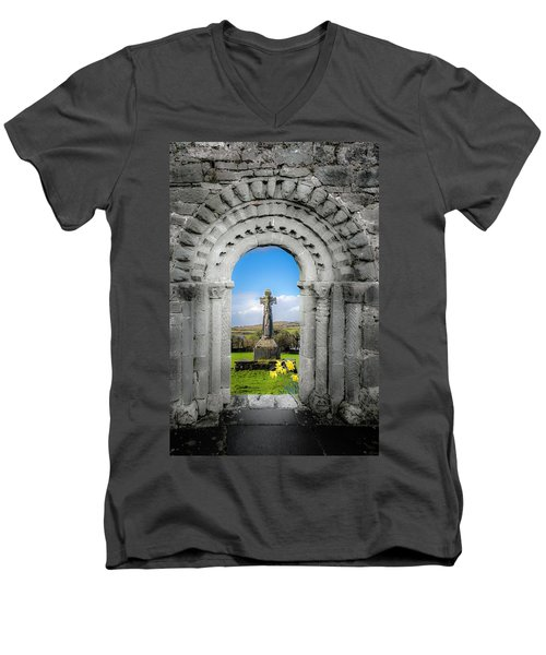 Medieval Arch And High Cross, County Clare, Ireland Men's V-Neck T-Shirt