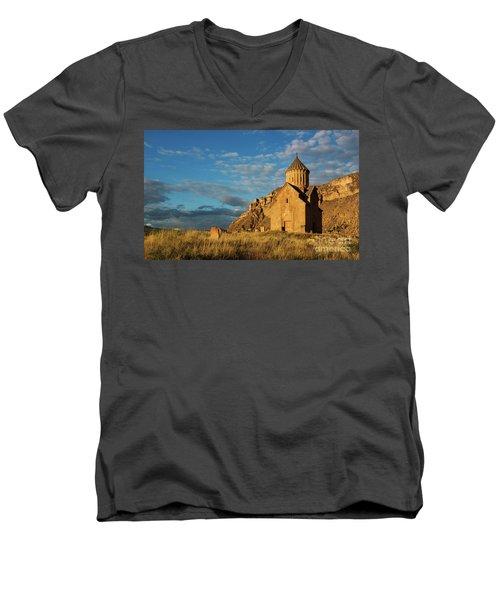 Medieval Areni Church Under Puffy Clouds, Armenia Men's V-Neck T-Shirt by Gurgen Bakhshetsyan