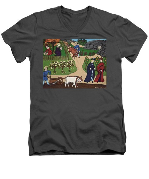 Medieval Fall Men's V-Neck T-Shirt by Stephanie Moore