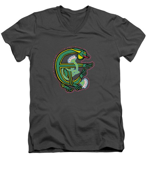 Medieval Frog Letter E Men's V-Neck T-Shirt