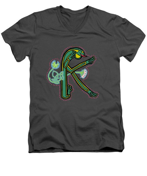 Medieval Frog Letter K Men's V-Neck T-Shirt