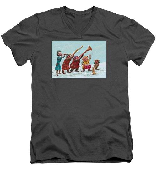 Medieval Merriment Men's V-Neck T-Shirt by Charles Cater