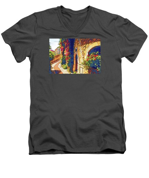 Medieval Saint-paul-de-vence Men's V-Neck T-Shirt by Dennis Cox WorldViews