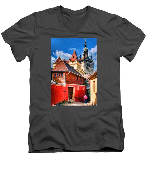Medieval Sighisoara Men's V-Neck T-Shirt by Dennis Cox WorldViews