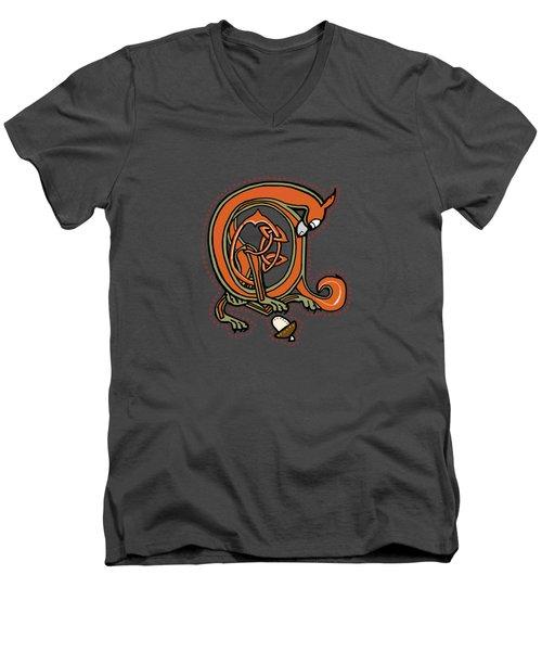 Medieval Squirrel Blue A Men's V-Neck T-Shirt