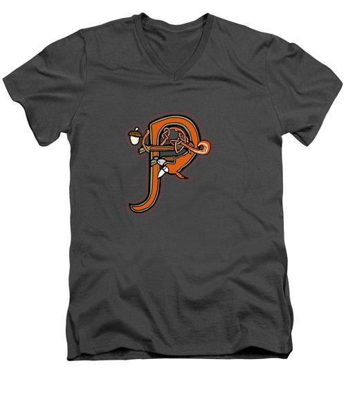 Medieval Squirrel Letter P Men's V-Neck T-Shirt