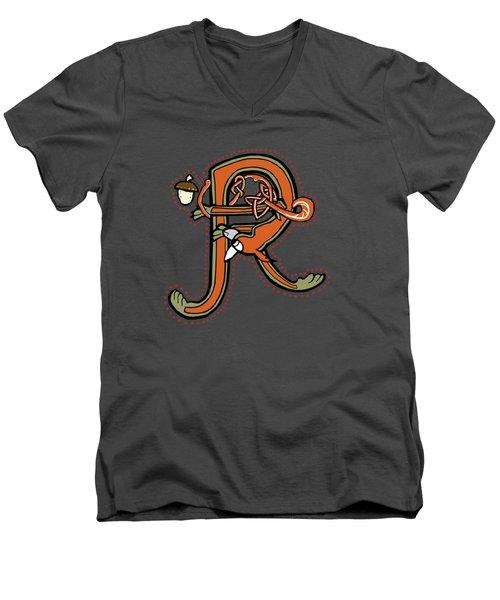 Medieval Squirrel Letter R Men's V-Neck T-Shirt