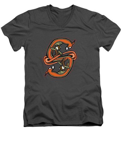 Medieval Squirrel Letter S Men's V-Neck T-Shirt