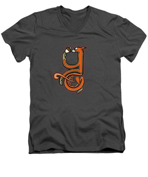 Medieval Squirrel Letter Y Men's V-Neck T-Shirt