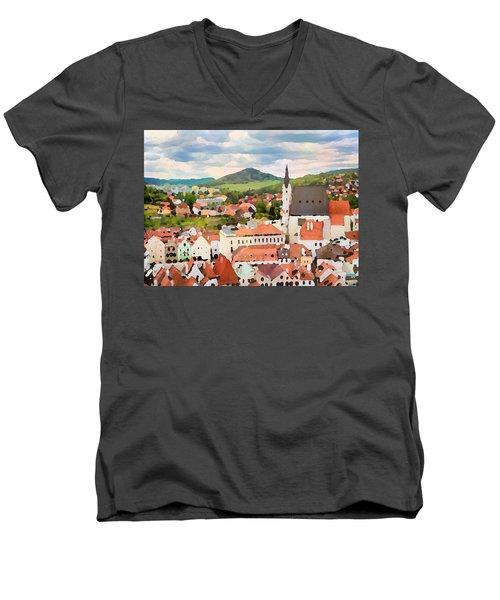 Men's V-Neck T-Shirt featuring the digital art Medieval Village  by Shelli Fitzpatrick