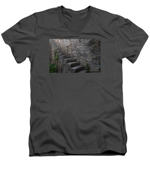 Medieval Wall Staircase Men's V-Neck T-Shirt by Angelo DeVal