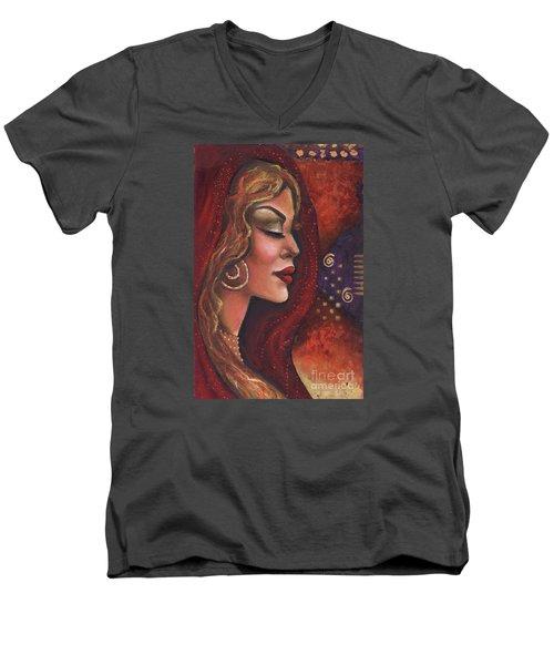 Men's V-Neck T-Shirt featuring the mixed media Meditate by Alga Washington