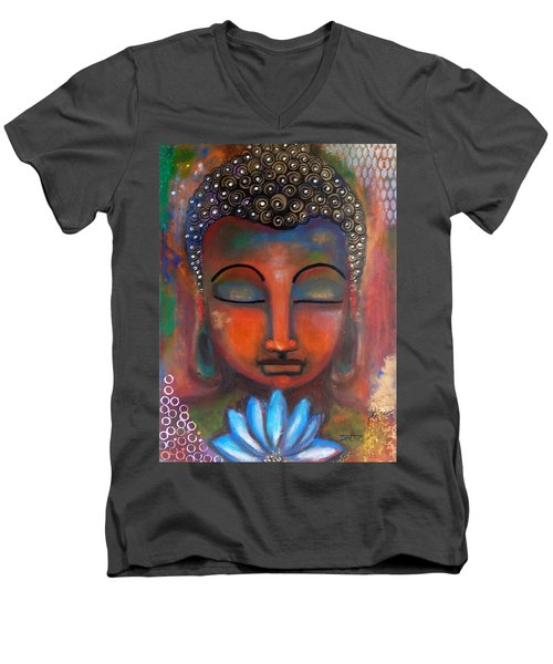 Men's V-Neck T-Shirt featuring the painting Meditating Buddha With A Blue Lotus by Prerna Poojara