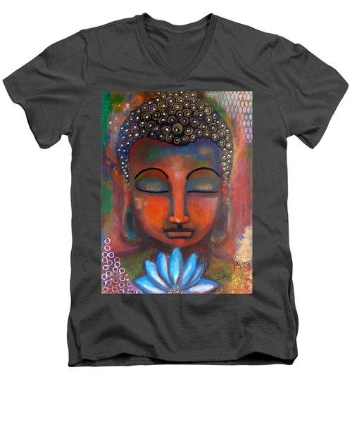 Meditating Buddha With A Blue Lotus Men's V-Neck T-Shirt