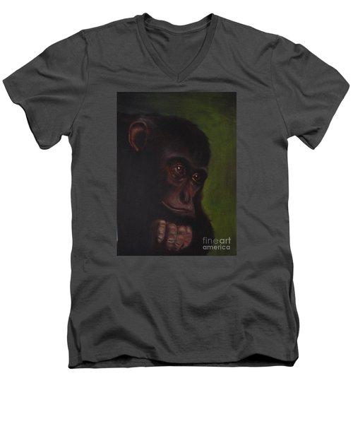 Men's V-Neck T-Shirt featuring the painting Meditation by Annemeet Hasidi- van der Leij
