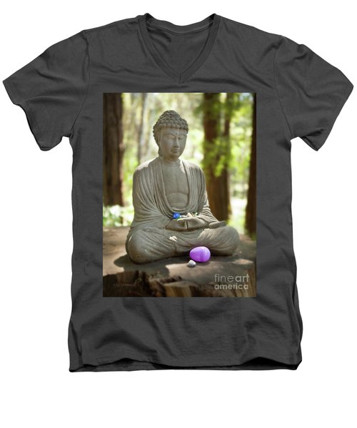 Meditation Buddha With Offerings Men's V-Neck T-Shirt