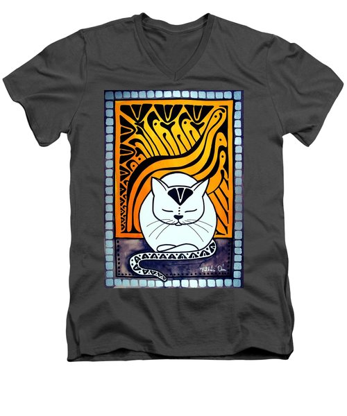 Men's V-Neck T-Shirt featuring the painting Meditation - Cat Art By Dora Hathazi Mendes by Dora Hathazi Mendes