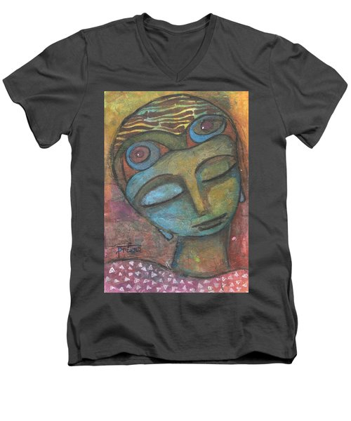 Men's V-Neck T-Shirt featuring the mixed media Meditative Awareness by Prerna Poojara