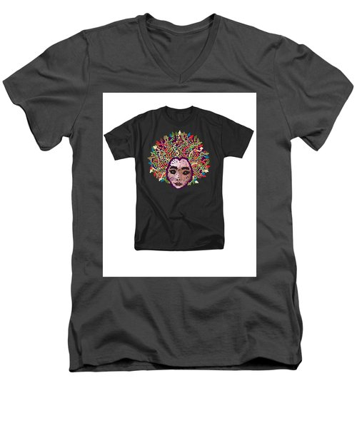 Men's V-Neck T-Shirt featuring the digital art Medusa Bedazzled Tee by R  Allen Swezey