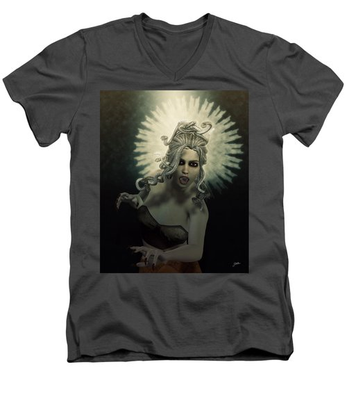 Medusa Men's V-Neck T-Shirt by Joaquin Abella