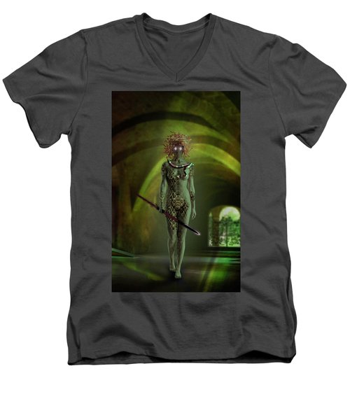 Medusa Men's V-Neck T-Shirt by Scott Meyer