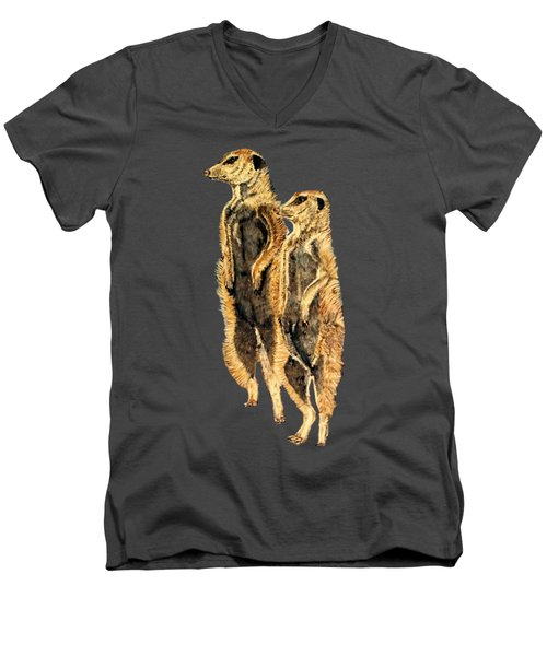 Meerkats Men's V-Neck T-Shirt by Teresa  Peterson