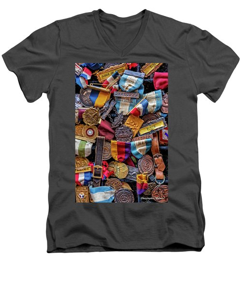 Men's V-Neck T-Shirt featuring the photograph Meet Medals by Christopher Holmes