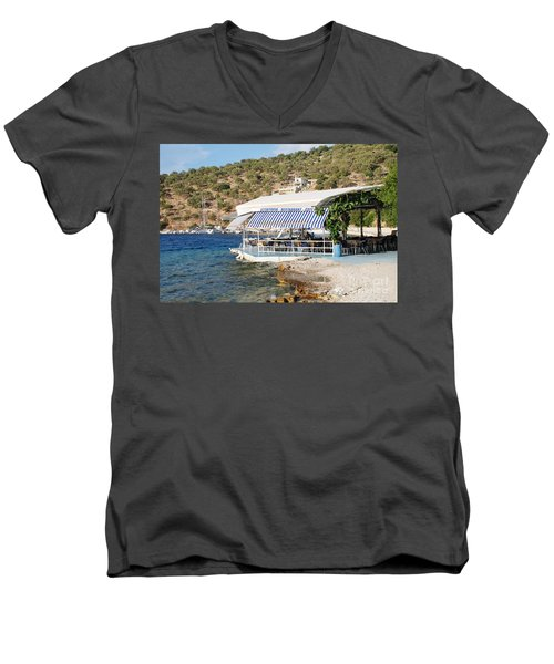 Meganissi Beach Taverna Men's V-Neck T-Shirt