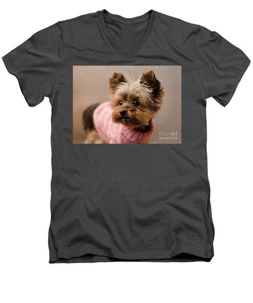 Melanie In Pink Mohair  Men's V-Neck T-Shirt