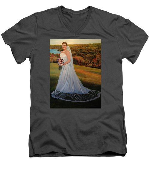 Men's V-Neck T-Shirt featuring the painting Melissa by Alan Lakin