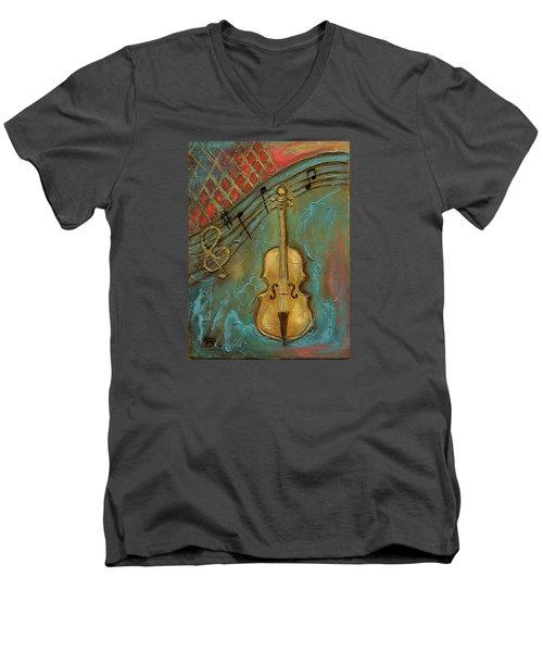 Mello Cello Men's V-Neck T-Shirt by Terry Webb Harshman