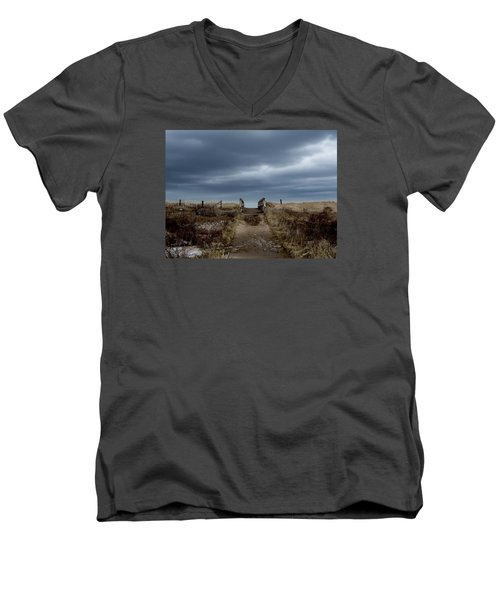 Men's V-Neck T-Shirt featuring the photograph Melmerby Beach Boardwalk by Kathleen Sartoris