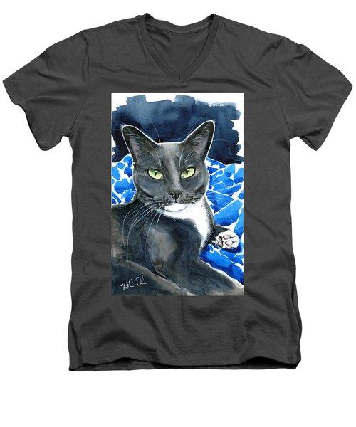 Melo - Blue Tuxedo Cat Painting Men's V-Neck T-Shirt
