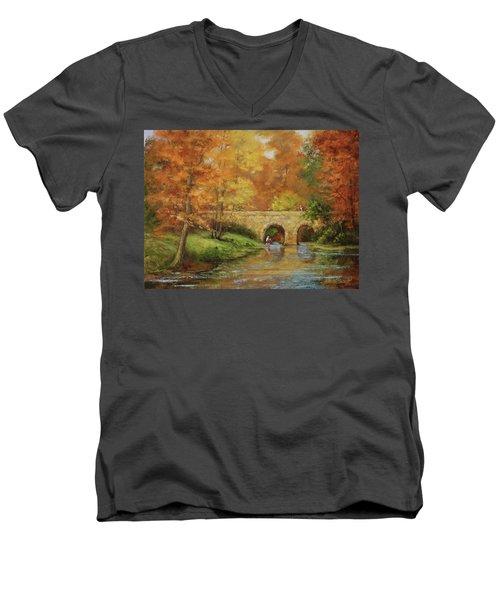 Memories At Stone Bridge Men's V-Neck T-Shirt