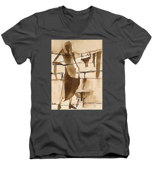 Men's V-Neck T-Shirt featuring the painting Memories From Childhood by Maya Manolova