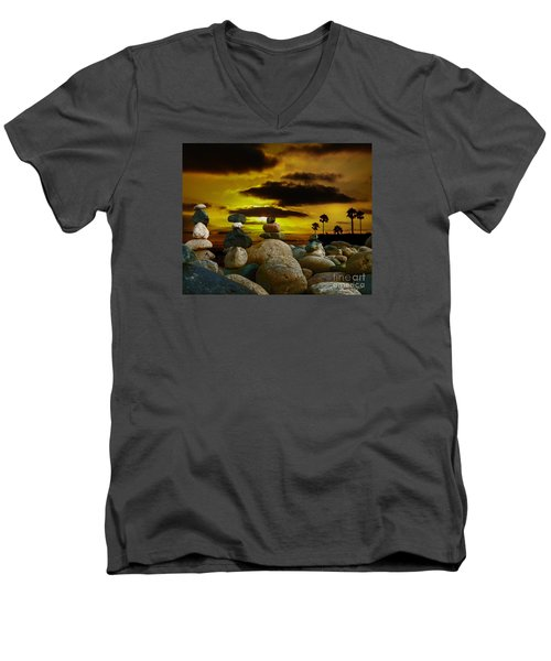 Men's V-Neck T-Shirt featuring the digital art Memories In The Twilight by Rhonda Strickland