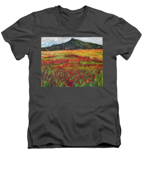 Men's V-Neck T-Shirt featuring the painting Memories Of Provence by Michael Helfen