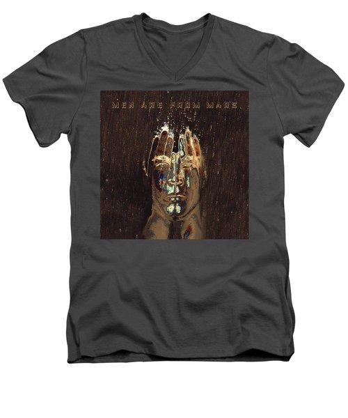 Men Are From Mars Gold Men's V-Neck T-Shirt