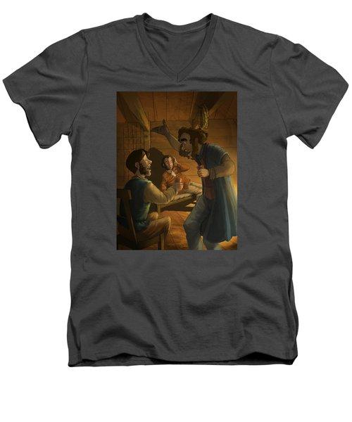 Men In A Hut Men's V-Neck T-Shirt by Andy Catling