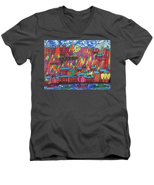 Menaggio Italy Men's V-Neck T-Shirt by Jonathon Hansen